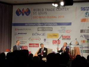 Growing Global panelists: Consul General Zhao Jian, the 11th Consul General of the People's Republic of China in Chicago, Jacob Parker, Senior Vice President at the US-China Business Council (who served as moderator), and Dave Rank, Senior Advisor at The Cohen Group.