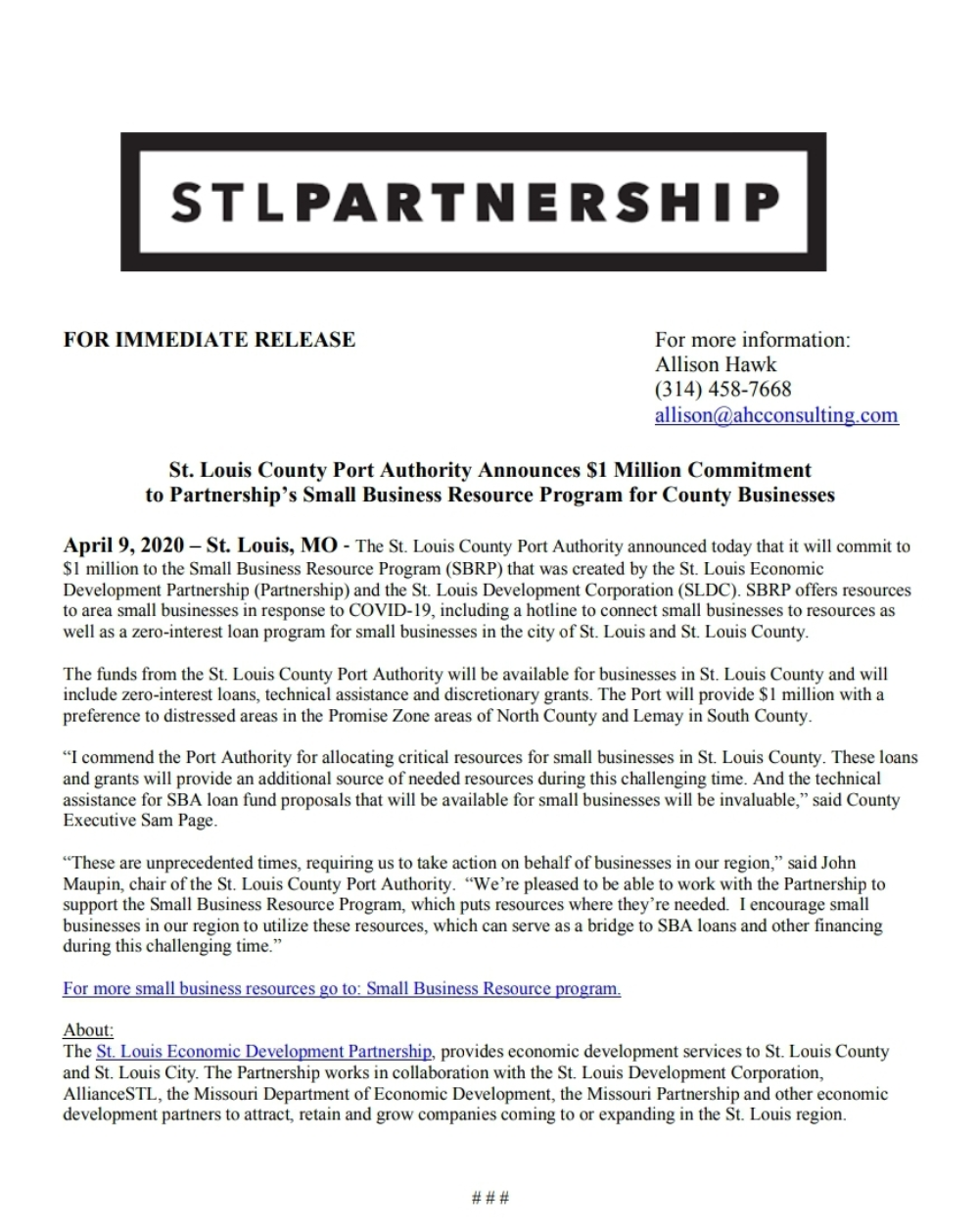 St. Louis County Port Authority Announces $1 Million Commitment to Partnership's Small Business Resource Program for County Businesses