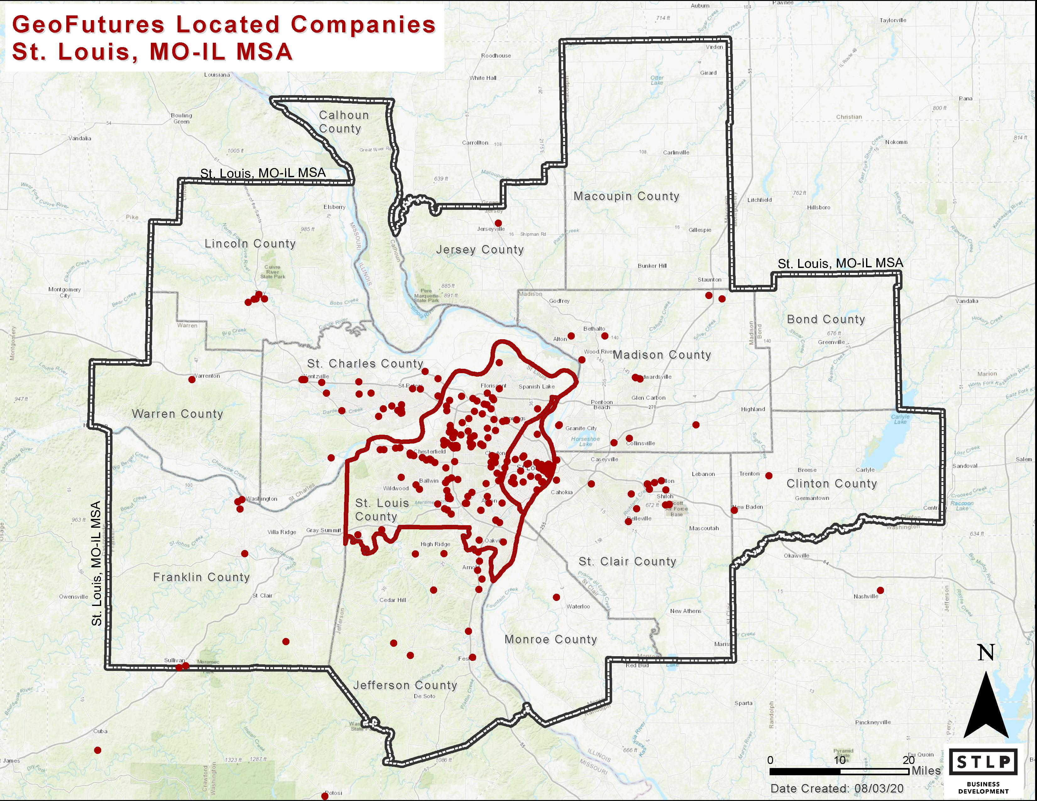 Geospatial Company Cluster in STL