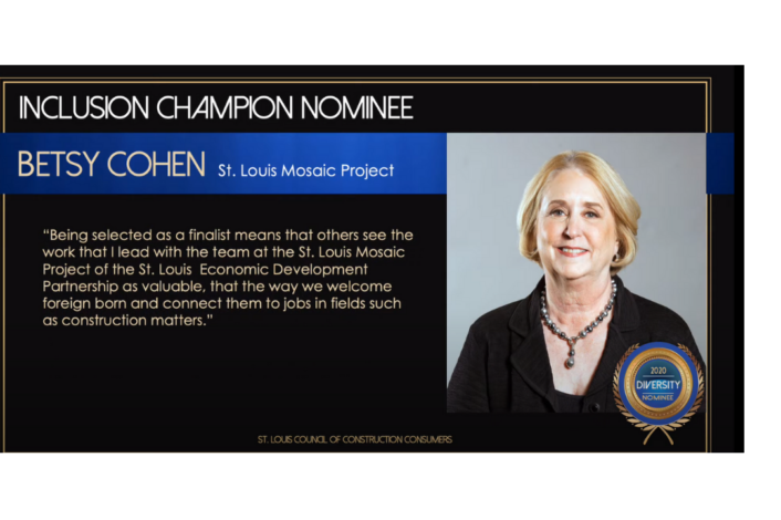 Betsy Cohen of St. Louis Mosaic Project of the St. Louis Economic Development Partnership as Diversity Awards Finalist
